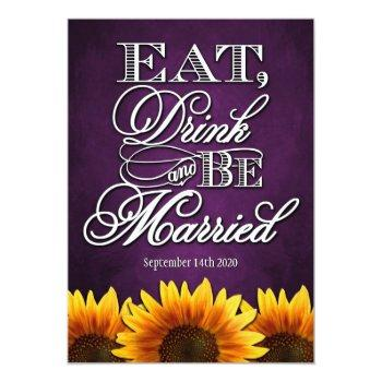 purple chalkboard sunflower wedding invitations