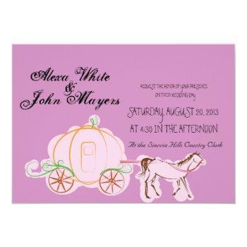 purple cinderella wedding invitation