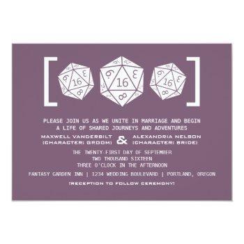 purple d20 dice gamer wedding invitation 16roll