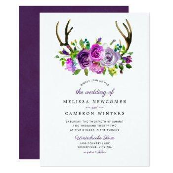 purple floral antlers wedding invitation