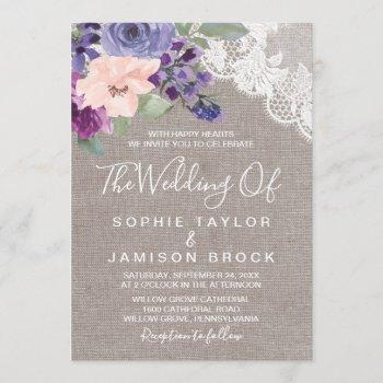 purple flowers and lace the wedding of invitation