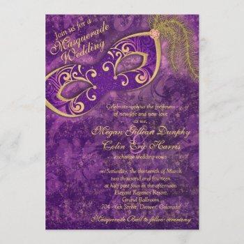 purple gold masquerade ball mardi gras wedding invitation