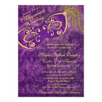Small Purple Gold Masquerade Ball Mardi Gras Wedding Invitation Front View