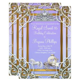 purple & gold princess crown carriage sweet 16 invitation