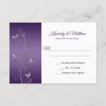 purple gradient and silver butterflies swirls rsvp invitation