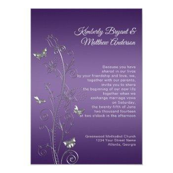 purple gradient silver ornate butterflies wedding invitation