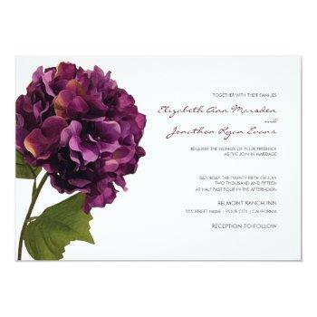 purple hydrangea - floral wedding invitation