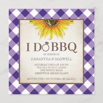 purple i do bbq engagement bridal shower invitation