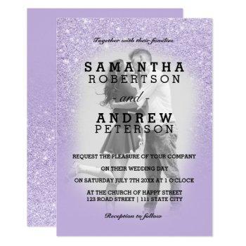 purple lavender faux glitter ombre photo wedding invitation
