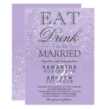 purple lavender faux glitter ombre script wedding invitation