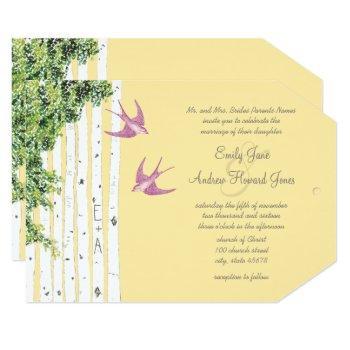 purple love bird birch tree wedding invitations
