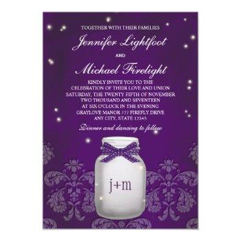purple mason jar with fireflies wedding invitation
