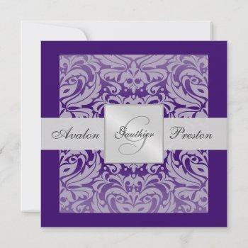 purple monogram damask border invitation