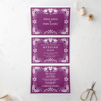 purple papel picado love birds wedding tri-fold invitation