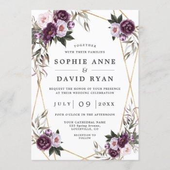 purple pink peony rose gold all in one wedding invitation