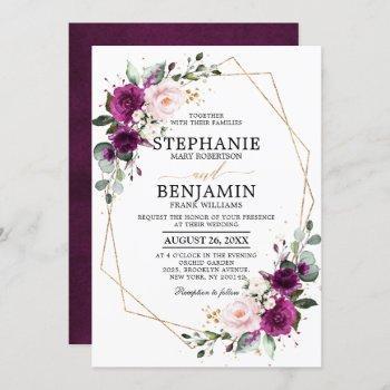 purple plum blush pink rose boho geometric wedding invitation