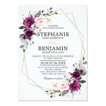 Small Purple Plum Blush Pink Rose Boho Geometric Wedding Invitation Front View