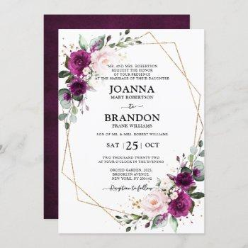 purple plum blush pink roses geometric wedding invitation