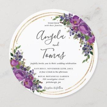 purple plum floral wedding gold glitter circle invitation