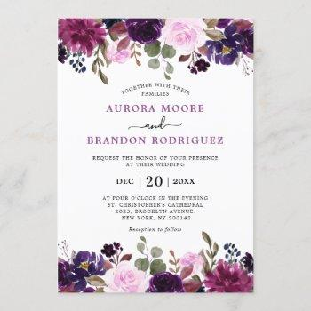 purple plum lavender eggplant floral chic wedding invitation