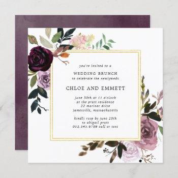 purple plum mauve pink post wedding brunch invitation