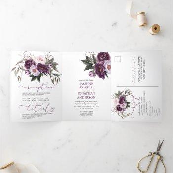 purple plum pink watercolor peonies wedding | tri-fold invitation