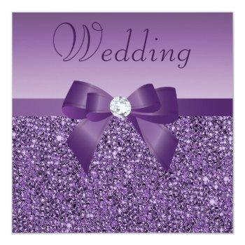 purple printed sequins bow & diamond wedding invitation