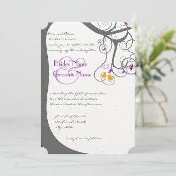 purple rustic forest love bird wedding invitation