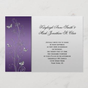 purple silver floral butterflies wedding invitation