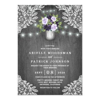 Small Purple Silver Gray Floral Rustic Mason Jar Wedding Invitation Front View