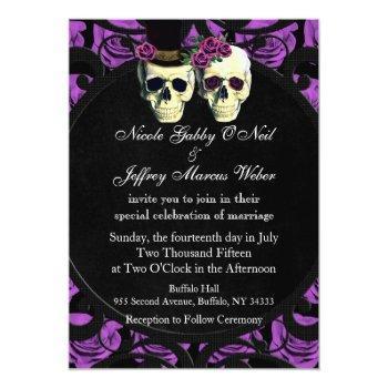 purple skulls bride & groom wedding invitation