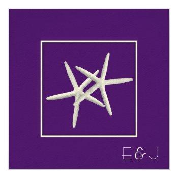 purple starfish wedding invitations