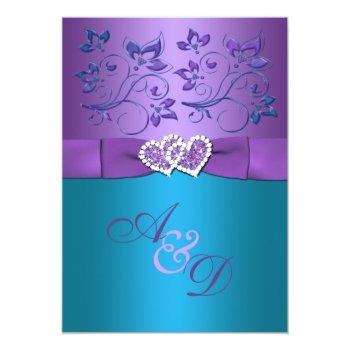 Small Purple, Teal Floral Hearts Monogram Wedding Invite Front View