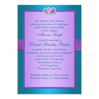 Small Purple, Teal Floral Hearts Monogram Wedding Invite Back View