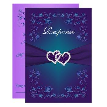 purple, teal floral hearts wedding rsvp invitation