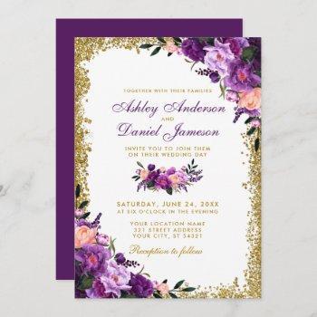 purple ultra violet floral gold glitter wedding invitation