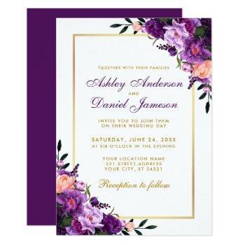 purple violet floral gold wedding invitation