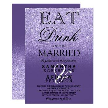 purple violet glitter ombre typography wedding invitation