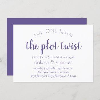 purple violet script | one with wedding plot twist invitation