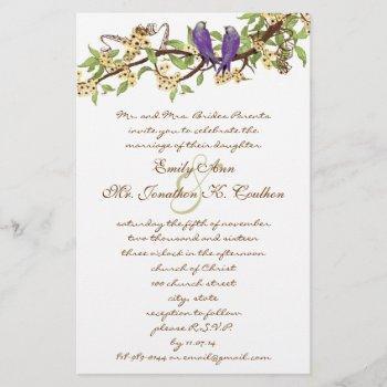 purple yellow rustic love bird wedding invitations