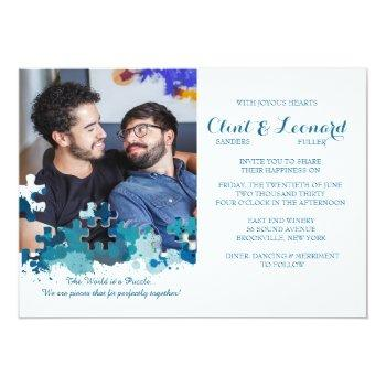 puzzle pieces blue photo wedding invitation