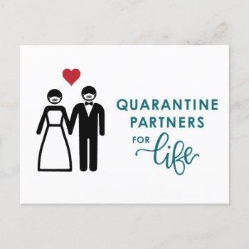 quarantine partners for life | blue announcement postcard