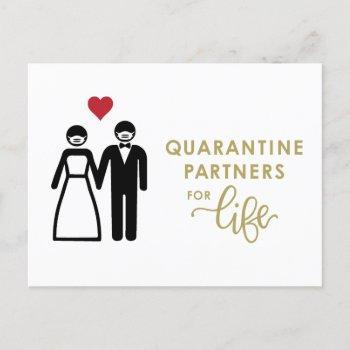 quarantine partners for life | gold announcement postcard