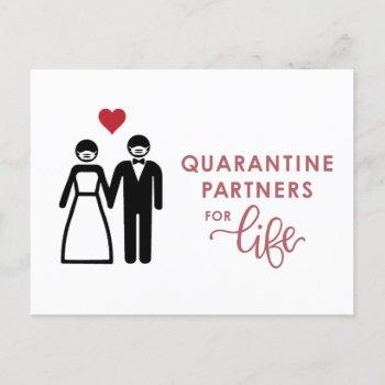quarantine partners for life   pink announcement postcard