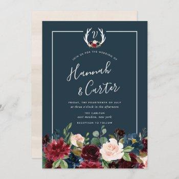 radiant bloom antler monogram wedding invitation