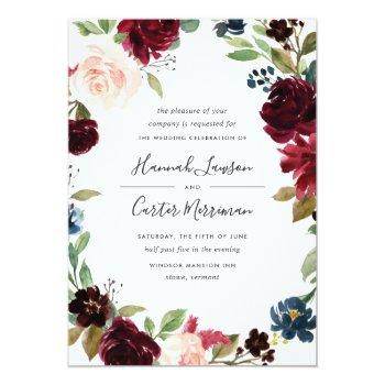 Small Radiant Bloom Floral Frame Wedding Invitation Front View
