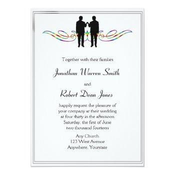 rainbow elegance gay groom wedding invitation