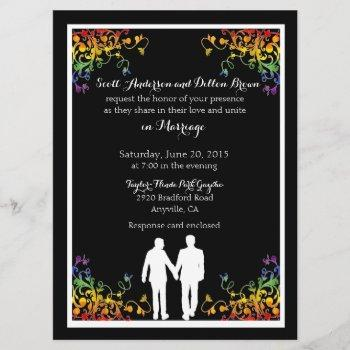 rainbow flourishes gay wedding invitations