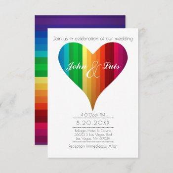 rainbow heart wedding invitation