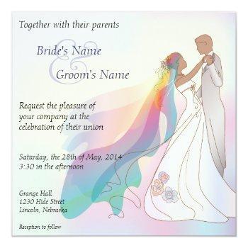 rainbow non-white bride & groom wedding invite - 1